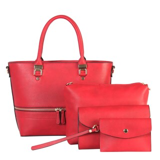 Rimen & Co. PU Leather Front Zipper Decoration Tote 4 Pieces Set (Option: Red - Red)