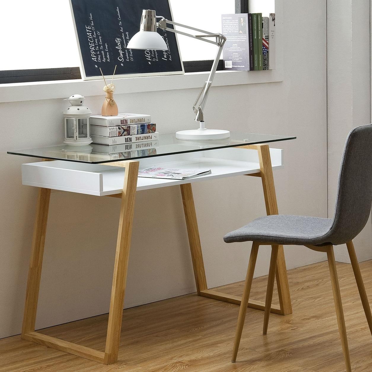 Pleasing Poly And Bark Segovia Glass Top Desk Dailytribune Chair Design For Home Dailytribuneorg