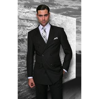 Statement TZD-100 Black Double Breasted Suit