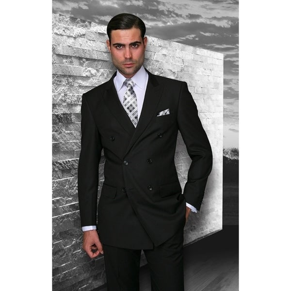 Statement TZD-100 Black Double Breasted Suit by  Discount