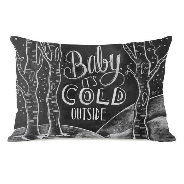 Baby, It's Cold Outside - Gray White 14x20 Throw Pillow by Lily & Val