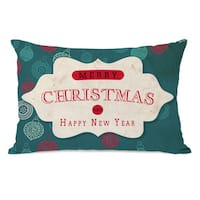 Assorted Ornaments - Teal Tan 14x20 Throw Pillow by OBC