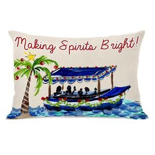 Making Spirits Bright - Tan Multi 14x20 Throw Pillow by Timree