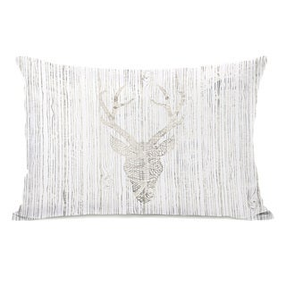Reindeer Head - Cream 14x20 Throw Pillow by OBC