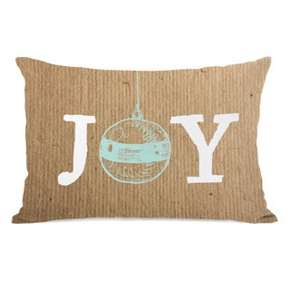 Joy Ornament Paper - Brown  14x20 Throw Pillow by OBC