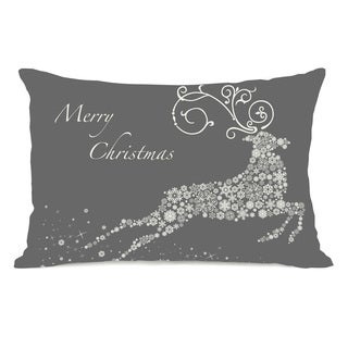 Snowflake Reindeer - Grey 14x20 Throw Pillow by OBC
