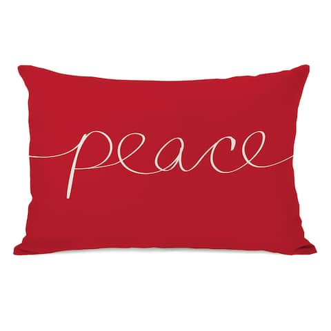 Peace Mix & Match Holiday - Ivory Red 14x20 Throw Pillow by OBC