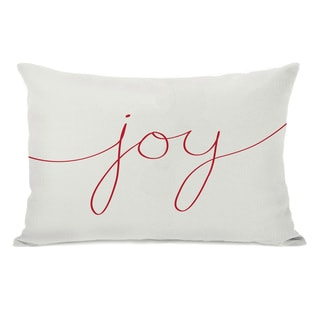 Joy Mix & Match Holiday - Ivory Red 14x20 Throw Pillow by OBC
