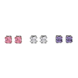 Princess Cut Crystal Stud Earrings 6mm each