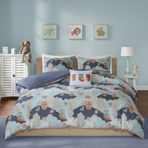 INK+IVY Kids Luna Navy Cotton Percale Printed 4-piece Comforter Set