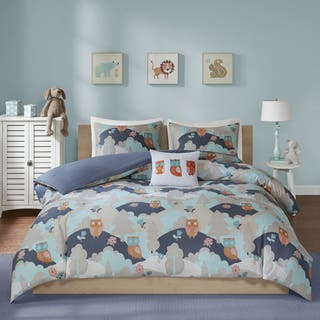INK+IVY Kids Luna Navy Cotton Percale Printed 4-piece Comforter Set|https://ak1.ostkcdn.com/images/products/18019169/P24187989.jpg?impolicy=medium