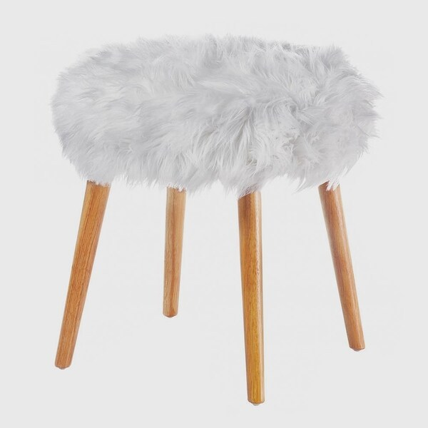 Waverly White Fur-topped Foot Stool