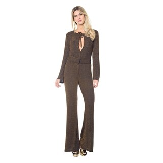 Sara Boo Belted Shimmer Jumpsuit
