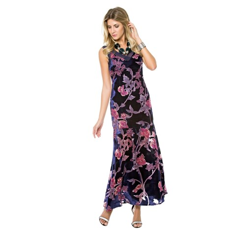 Sara Boo Velvet Floral Maxi Dress