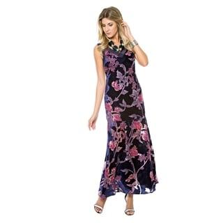 Sara Boo Velvet Floral Maxi Dress