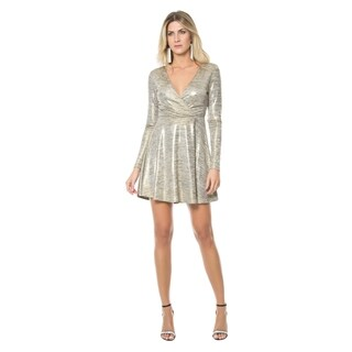 Sara Boo Metallic Melange Skater Dress