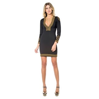 Sara Boo Embroidered V-Neck Bodycon Dress