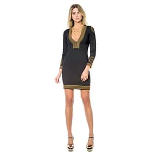 Sara Boo Embroidered V-Neck Bodycon Dress|https://ak1.ostkcdn.com/images/products/18019225/P24188031.jpg?impolicy=medium