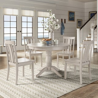 Wilmington II Round Pedestal Base Antique White 5 Piece Dining Set By  INSPIRE Q Classic