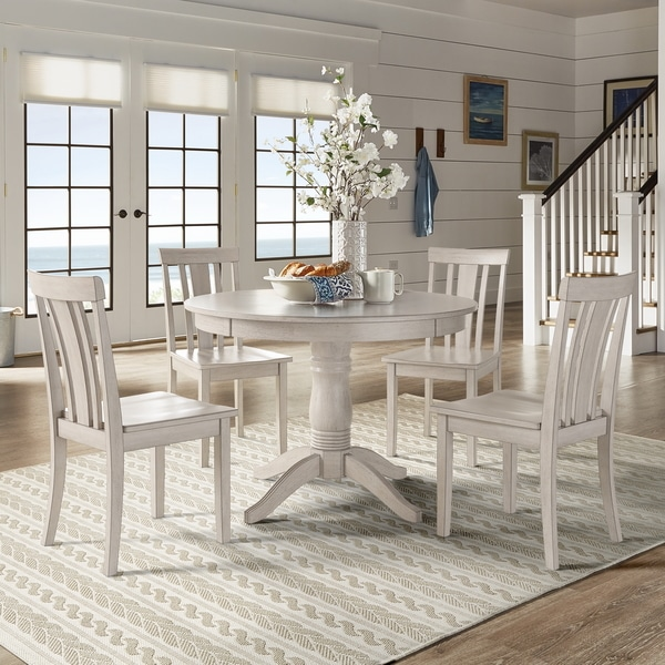 White Kitchen Dining Sets: Shop Wilmington II Round Pedestal Base Antique White 5