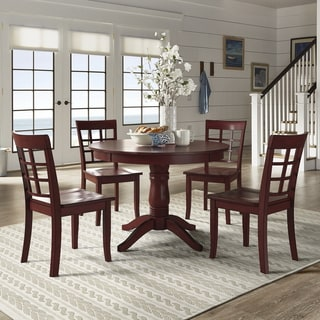 Wilmington II Round Pedestal Base Antique Berry Red 5-Piece Dining Set by iNSPIRE Q Classic