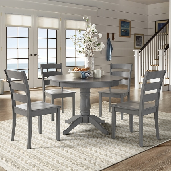 Wilmington Ii Round Pedestal Base Antique Grey 5 Piece Dining Set By Inspire Q Clic