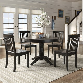 Wilmington II Round Pedestal Base Antique Black 5-Piece Dining Set by iNSPIRE Q Classic
