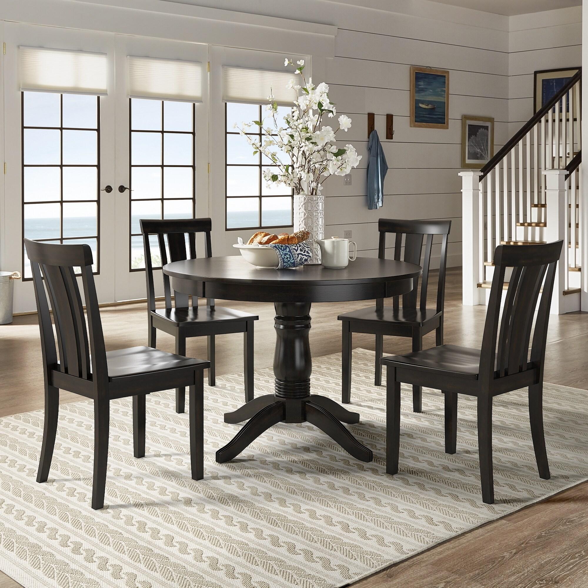 Black Round Dining Set: Wilmington II Round Pedestal Base Antique Black 5-Piece