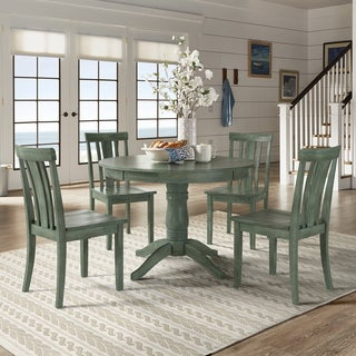 Wilmington II Round Pedestal Base Antique Sage Green 5-Piece Dining Set by iNSPIRE Q Classic