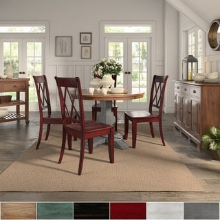 Eleanor Antique Grey Round Top Solid Wood Dining Set - X Back by iNSPIRE Q Classic