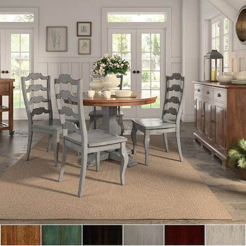 Eleanor Antique Grey Round Top Solid Wood Dining Set - French Ladder Back by iNSPIRE Q Classic