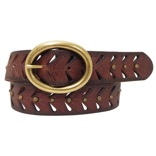 Cowgirls Rock Ladies' 1 1/2 Inch Distressed Genuine Leather Belt