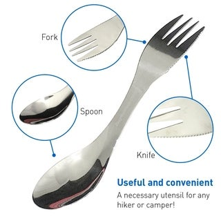 Camping Spork EGP-CAMP-002-Spoon Fork Knife Dinnerware Camp Cooking Utensil- 1 Pack