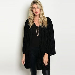 Shop The Trends Women's 3/4 Sleeve Open Front Cardigan With Allover Fringe Details