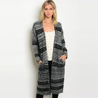 Shop The Trends Women's Long Sleeve Knit Long Line Cardigan With Pockets And Open Front Design