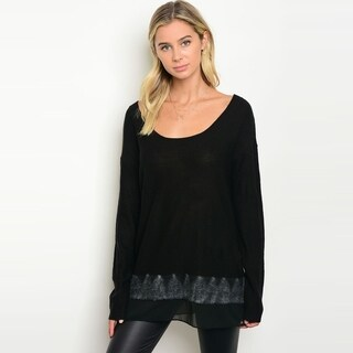 Shop The Trends Women's Long Sleeve Knit Sweater With Chiffon Trim On Hem|https://ak1.ostkcdn.com/images/products/18019442/P24188213.jpg?_ostk_perf_=percv&impolicy=medium