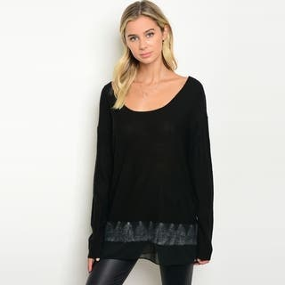 Shop The Trends Women's Long Sleeve Knit Sweater With Chiffon Trim On Hem|https://ak1.ostkcdn.com/images/products/18019442/P24188213.jpg?impolicy=medium