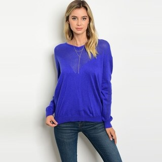 Shop The Trends Women's Long Sleeve Light Weight Knit Sweater With V-Neckline
