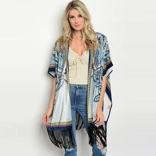 Shop The Trends Women's Short Flutter Sleeve Kimono Cardigan With Fringe On Hem