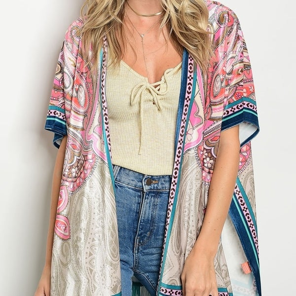Shop The Trends Women's Short Flutter Sleeve Kimono Cardigan With ...