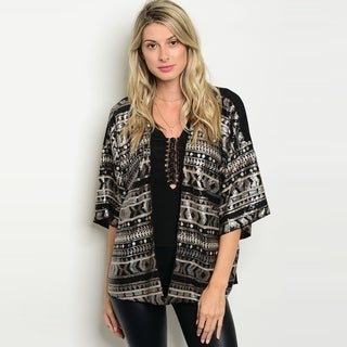 Shop The Trends Women's 3/4 Sleeve Open Front Cardigan With Detailed Sequin Patterns