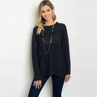 Shop The Trends Women's Long Sleeve Knit Sweater With Round Neckline