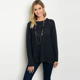Shop The Trends Women's Long Sleeve Knit Sweater With Round Neckline|https://ak1.ostkcdn.com/images/products/18019447/P24188226.jpg?impolicy=medium