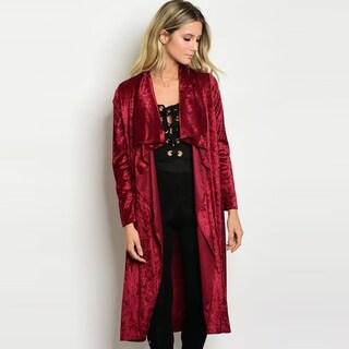 Shop The Trends Women's Long Sleeve Robe Style Velvet Cardigan With Open Front Design