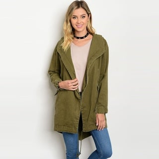 Shop The Trends Women's Long Sleeve Army Jacket With Front Zipper Closure