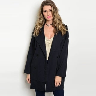 Shop The Trends Women's Long Sleeve Long Line Jacket With Front Button Closure