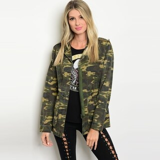 Shop The Trends Women's Long Sleeve Utility Jacket With Camouflage Print And Front Zipper Closure