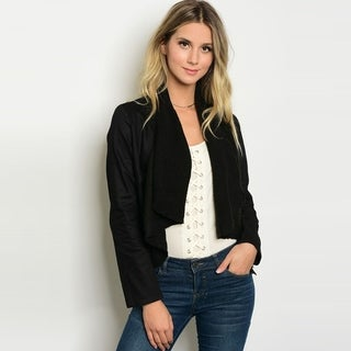 Shop The Trends Women's Long Sleeve Crop Jacket With Drape Open Front