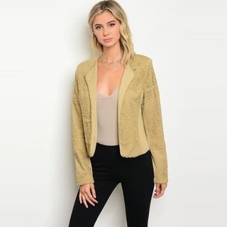 Shop The Trends Women's Long Sleeve Crochet Lace Jacket With Open Front Design