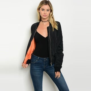 Shop The Trends Women's Long Sleeve Bomber Jacket With Front Zipper Closure
